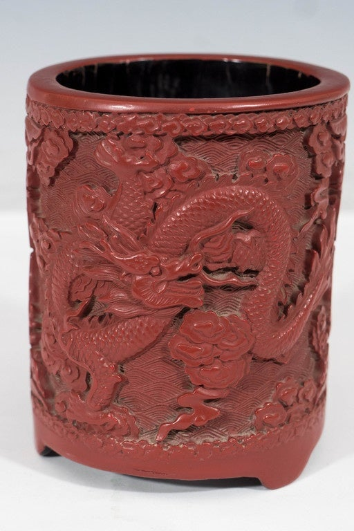 Antique Daoguang Period Chinese Carved Cinnabar Pot With Two Dragons For Sale At 1stdibs
