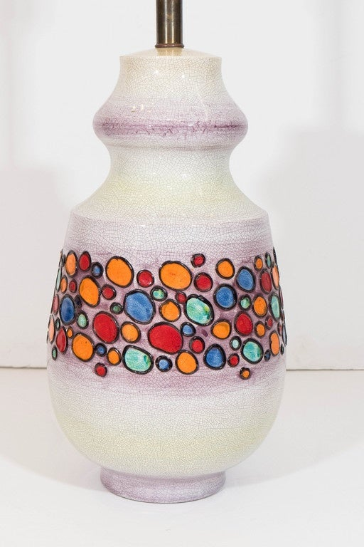 Italian White Crackle Glaze Ceramic Lamp For Raymor For Sale At 1stdibs
