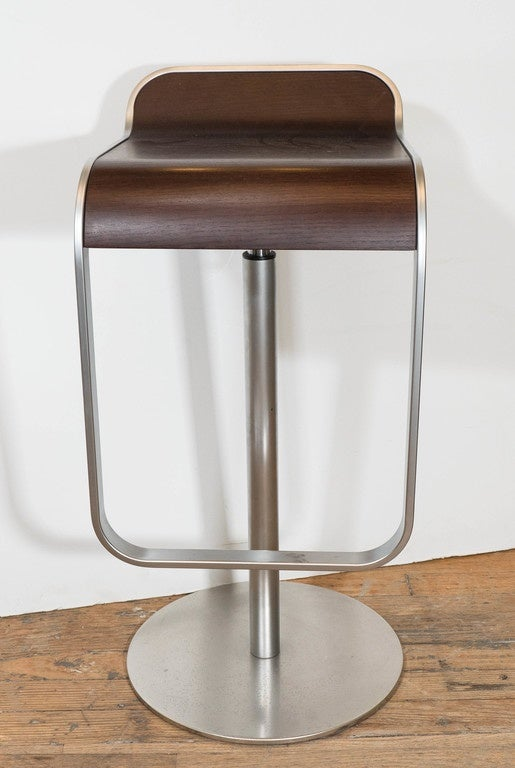 Pair Of Lem Piston Barstools In Walnut And Chrome For