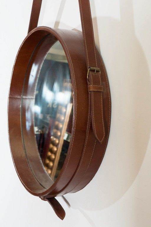 Round Adnet Wall Mirror With Brown Faux Leather Strap At