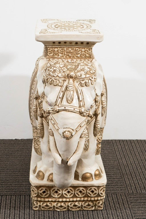 Pair Of Off White And Gold Glazed Ceramic Elephant Garden
