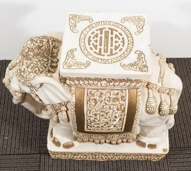 Pair Of Off White And Gold Glazed Ceramic Elephant Garden