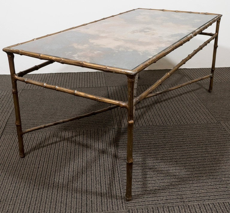 A Maison Bagu S Style Faux Bamboo Brass Coffee Table With Smoked Glass Top For Sale At 1stdibs