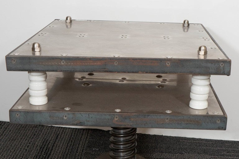 Mid-20th Century French 1940s Industrial Two-Tier Side Table in Aluminum For Sale