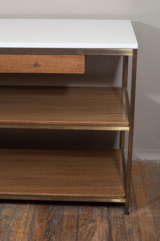 Paul Mccobb Milk Glass Top Console Table With Shelves On