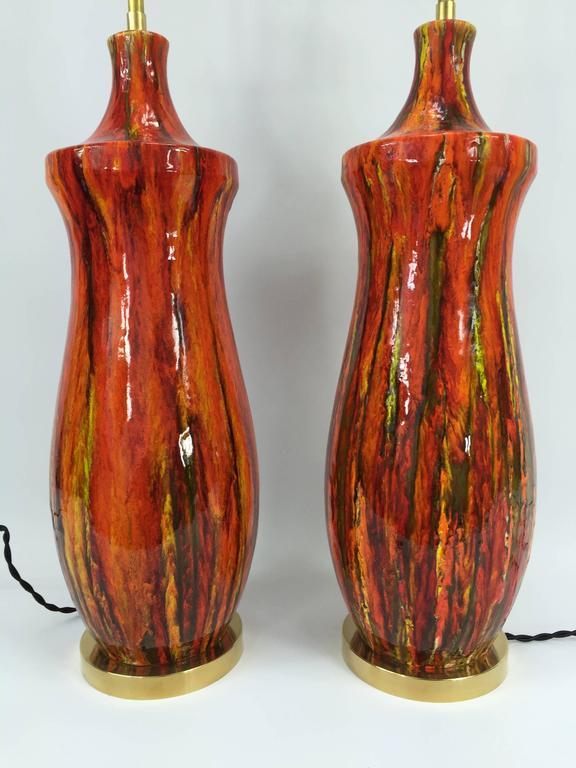 pair of midcentury american lustre glazed porcelain lamps. Black Bedroom Furniture Sets. Home Design Ideas