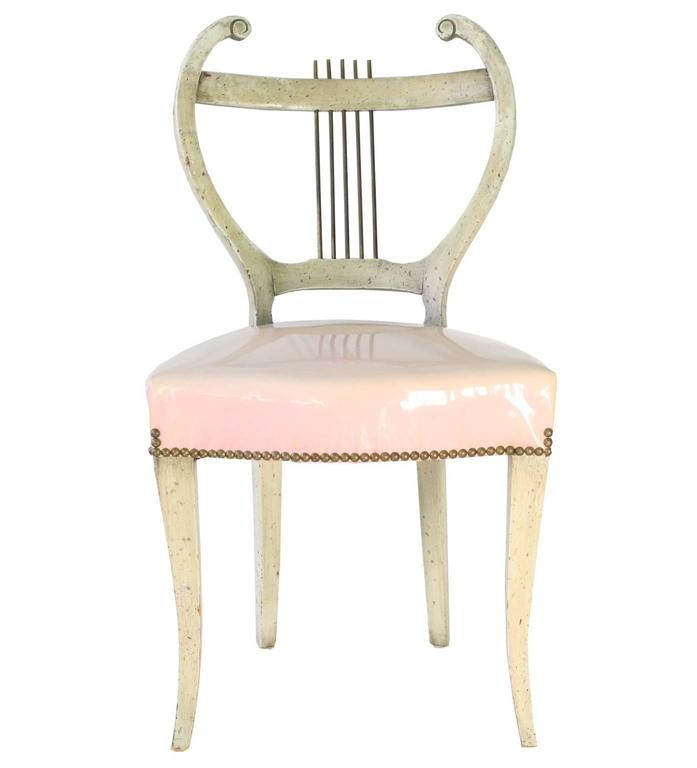 Regency Revival Midcentury Set of Four French Regency Lyre-Back Dining Chairs with Vinyl Seats For Sale