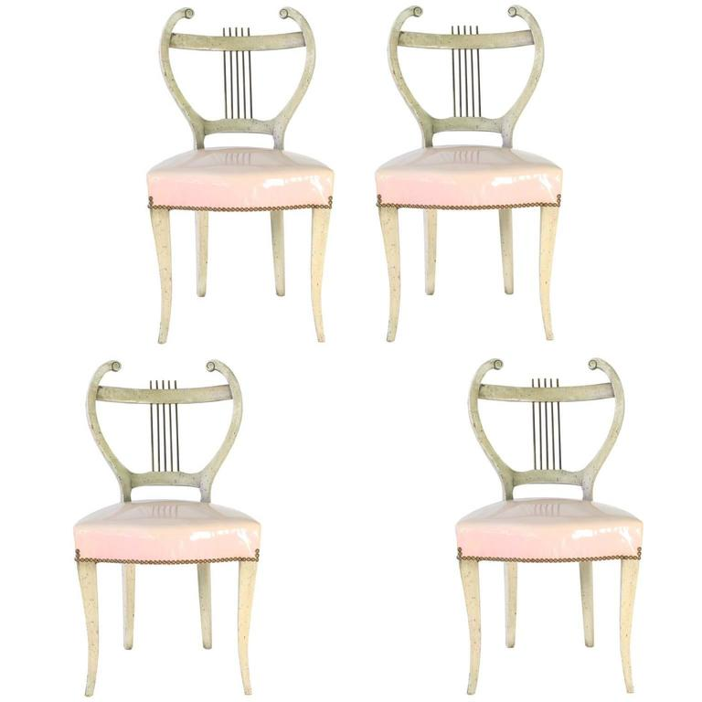 Midcentury Set of Four French Regency Lyre-Back Dining Chairs with Vinyl Seats For Sale