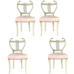 Midcentury Set of Four French Regency Lyre-Back Dining Chairs with Vinyl Seats