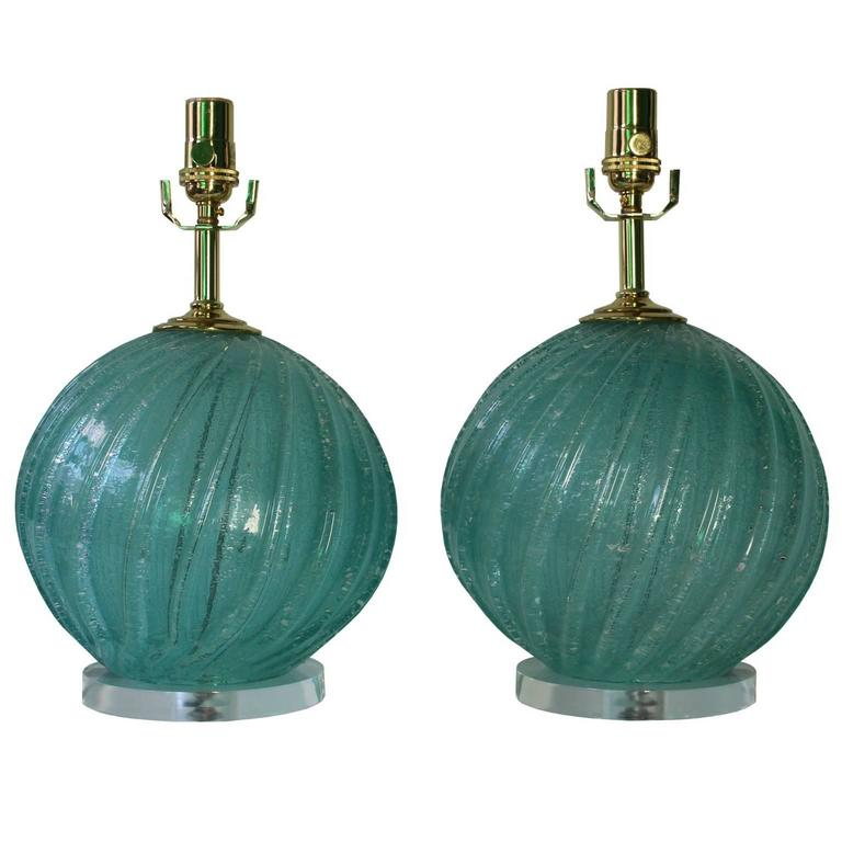 Pair of Aquamarine Murano Glass Ball Lamps on Lucite Bases