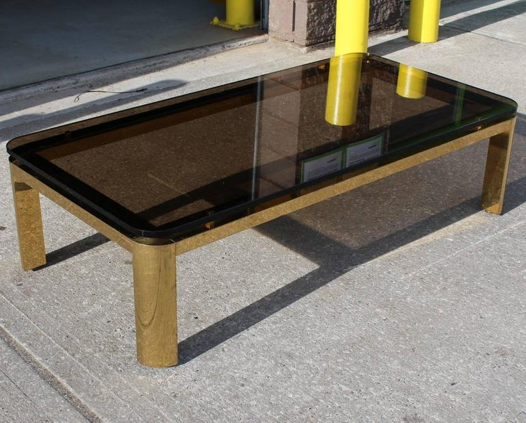 Modern Pace Collection Floating Smoked Glass Top Coffee Table in Brass For Sale