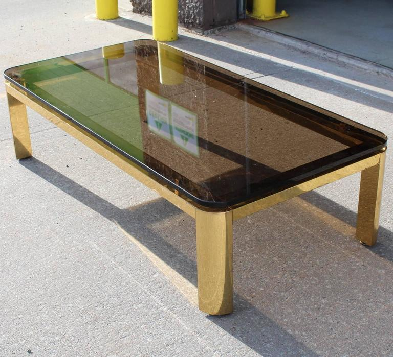 Pace Collection Floating Smoked Glass Top Coffee Table in Brass In Fair Condition For Sale In New York, NY