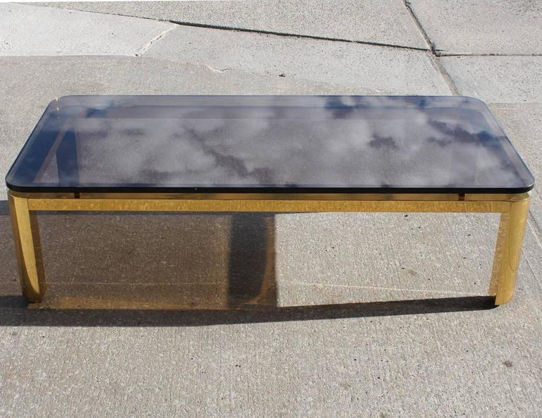 Late 20th Century Pace Collection Floating Smoked Glass Top Coffee Table in Brass For Sale