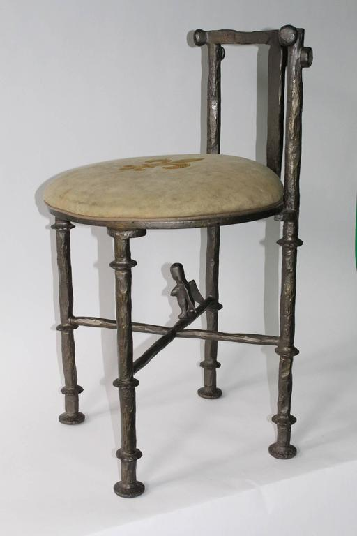 Diego Giacometti Style Stool In Patinated Dark Green Steel