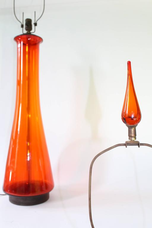Pair of Blenko Tangerine Glass Table Lamps 3