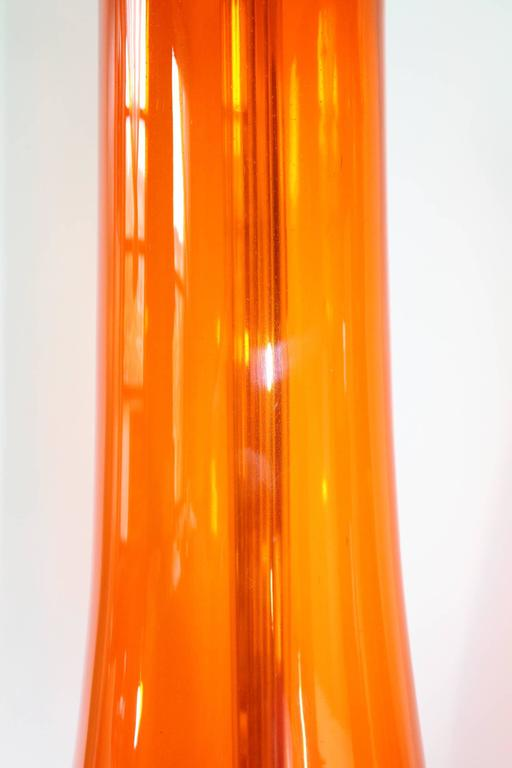 Pair of Blenko Tangerine Glass Table Lamps 5