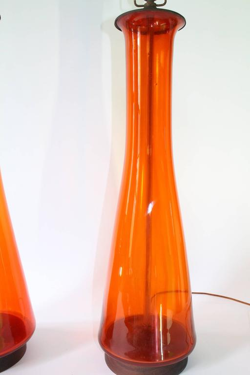 Pair of Blenko Tangerine Glass Table Lamps 6