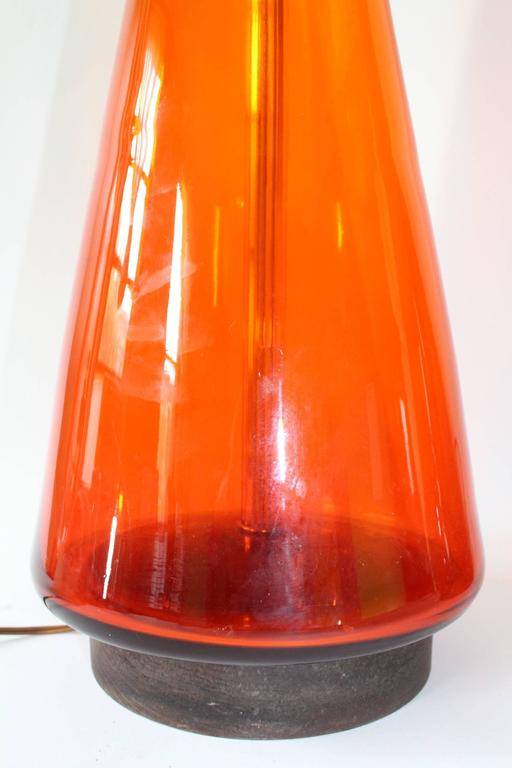 Pair of Blenko Tangerine Glass Table Lamps 7