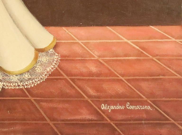 Mexican Alejandro Camarena, 'Niña Con Jaula', Oil on Canvas, Signed For Sale