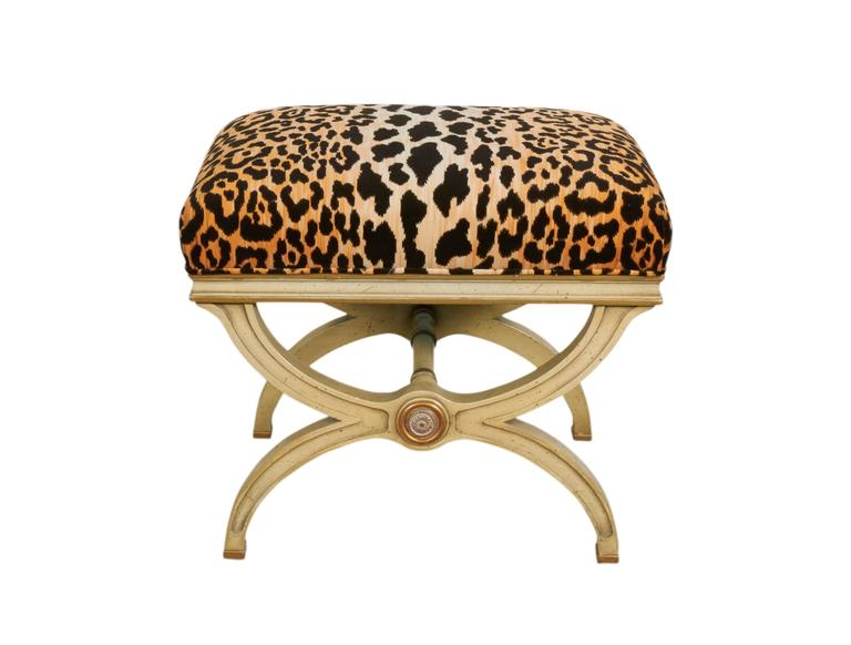 Pair of hollywood regency leopard print velvet benches for Leopard print bench