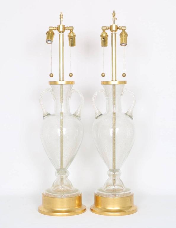 Gilt Murano Glass Urn Lamps by Seguso for Marbro, Pair For Sale