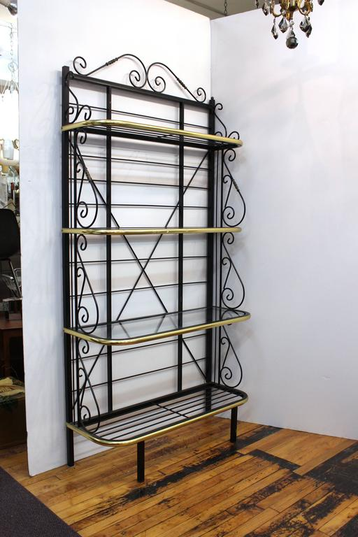 Mid-Century Brass and Metal Bakers Rack 2