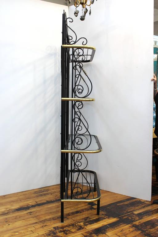 Mid-Century Brass and Metal Bakers Rack 3