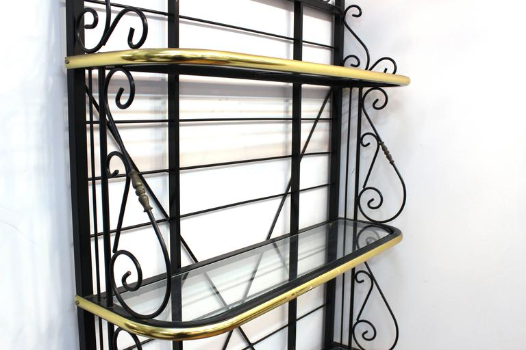 Mid-Century Brass and Metal Bakers Rack 5