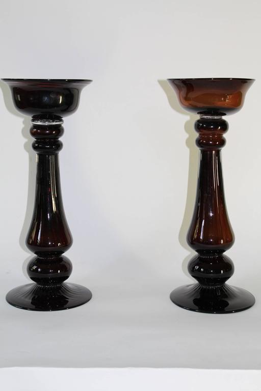 Pair of Mid-Century Modern Hand Blown Glass Baluster Candlesticks In Good Condition For Sale In New York, NY