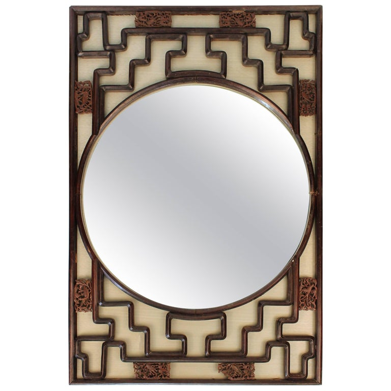 Gump\'s Asian Style Round Mirror in Decorative Rectangular Frame at ...
