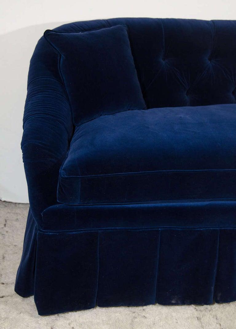Hollywood Regency 21st Century Blue Velvet Settee For Sale