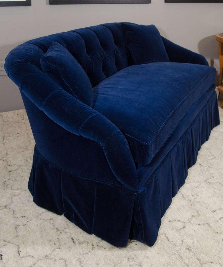 American 21st Century Blue Velvet Settee For Sale