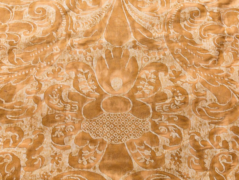 Lucious Fortuni fabric in a king-size spread. True shiny gold and white silk and cotton fabrics, Babarizi pattern. Purchased from Palm Beach first owner afraid to sit on the bedspread. Like new. I would say,