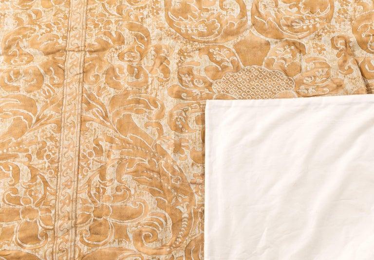 Italian Kingsize Gold and White Fortuni Barbarizi Design Bedspread For Sale