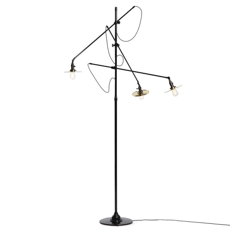 Adjustable Three-Arm O.C. White Floor Lamp Customized by Wyeth 4