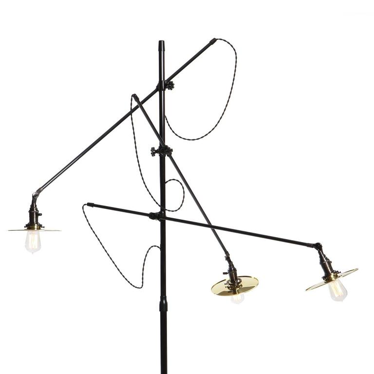 Adjustable Three-Arm O.C. White Floor Lamp Customized by Wyeth 3