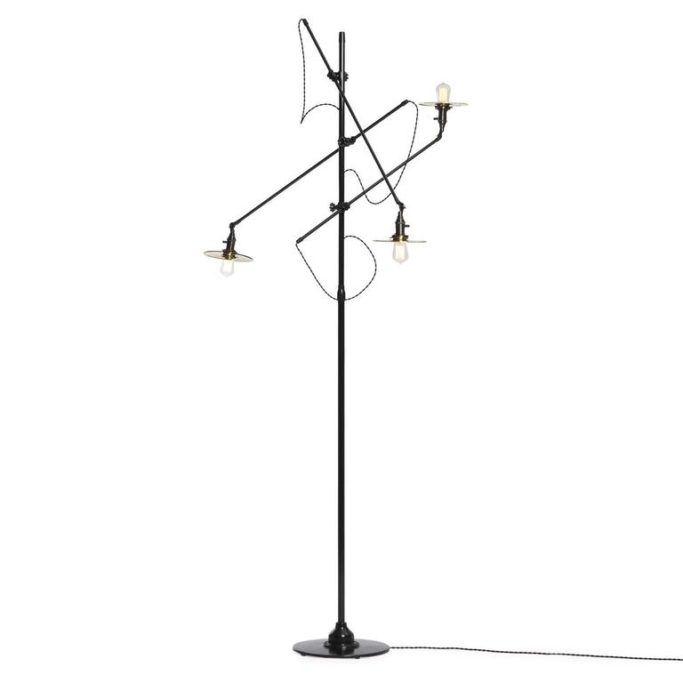 Adjustable Three-Arm O.C. White Floor Lamp Customized by Wyeth 6