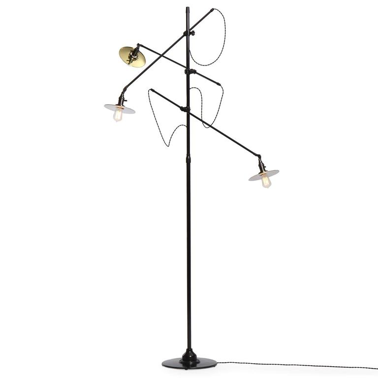Adjustable Three-Arm O.C. White Floor Lamp Customized by Wyeth 8
