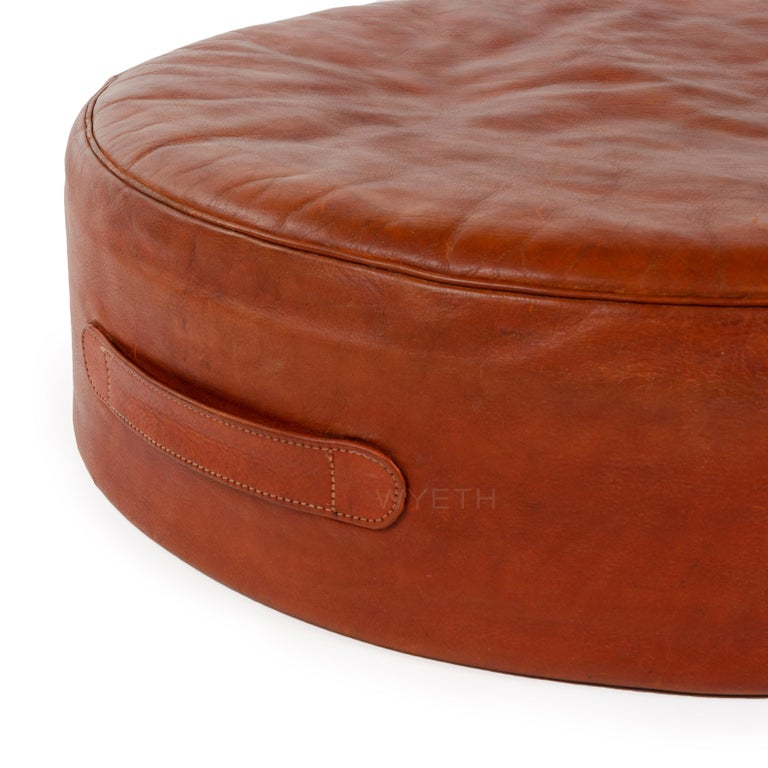 Danish Red Leather Stool For Sale