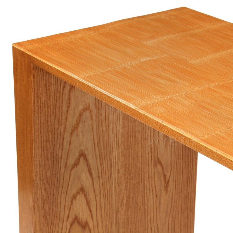 Contemporary Oak and Split Bamboo Console Table For Sale