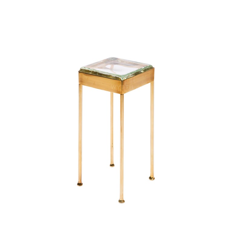 American Glass Block Side Table For Sale