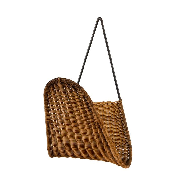 Mid-Century Modern Woven Wall Magazine Rack For Sale