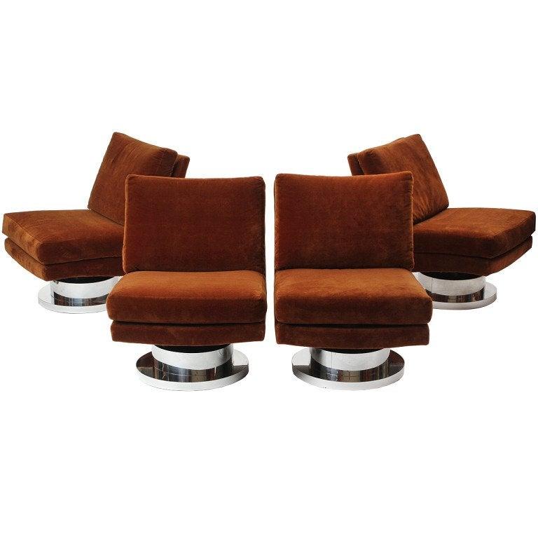 1960s Swiveling Russet Velvet Slipper Chair by Milo Baughman for Thayer-Coggin