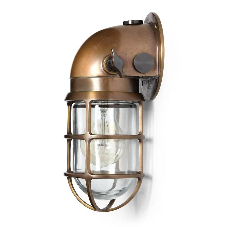 Wall Sconces Industrial : Industrial Bronze Caged Sconce by Russell and Stoll Co. For Sale at 1stdibs