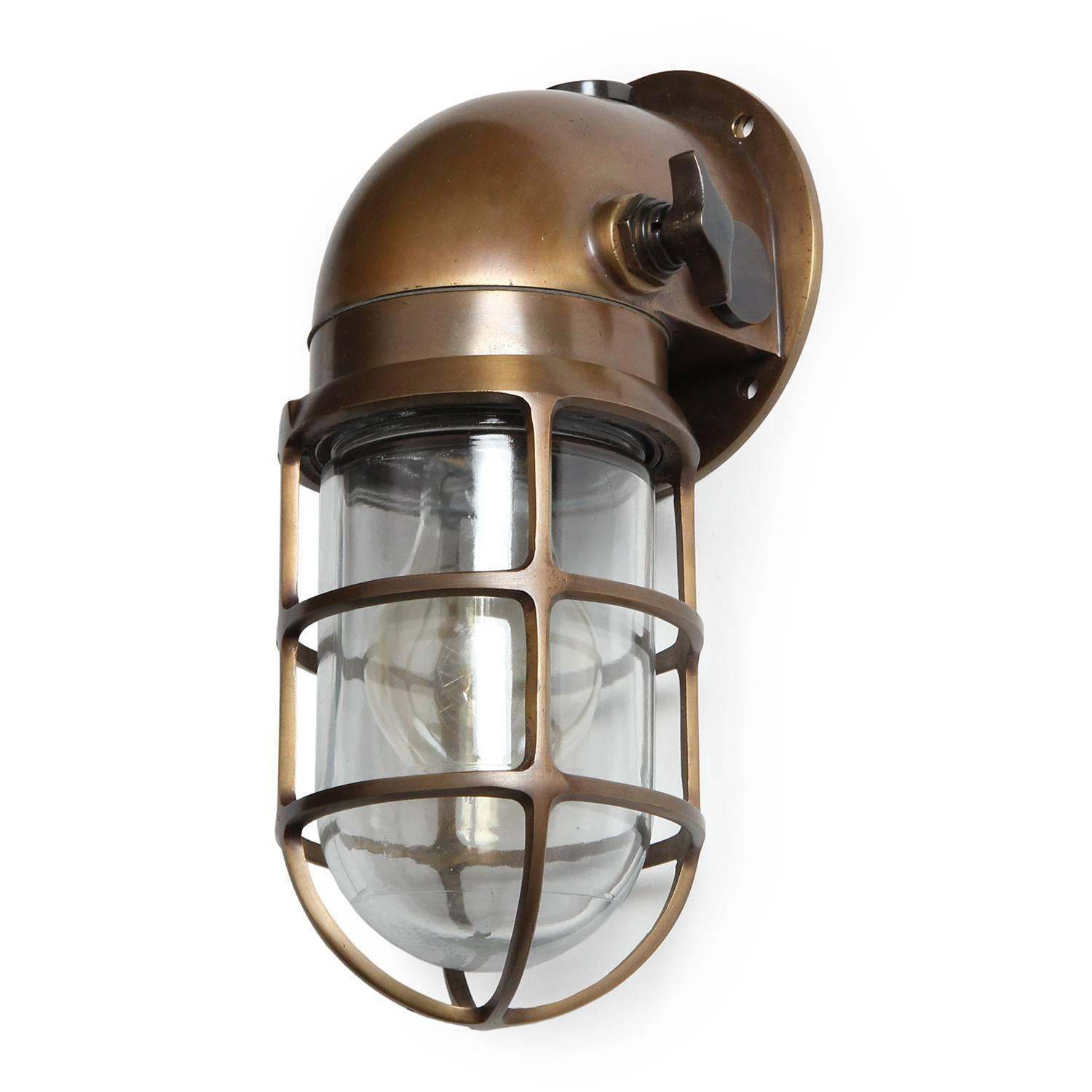 Russell Lowe Wall Lights : Industrial Bronze Caged Sconce by Russell and Stoll Co. For Sale at 1stdibs