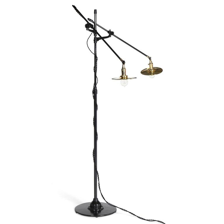 Adjustable Two-Arm O.C. White Floor Lamp Customized by Wyeth 3