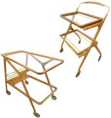 Mid-Century Italian Walnut, Brass and Glass Bar Carts