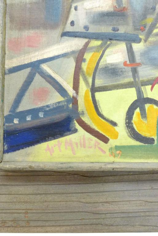American 1940s Abstract Painting by Art Miller For Sale