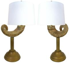 Pair of Ram's Horn and Brass Table Lamps