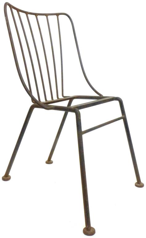 Mid-Century Modern Set of Six Mid-Century Wrought Iron Outdoor Chairs For Sale